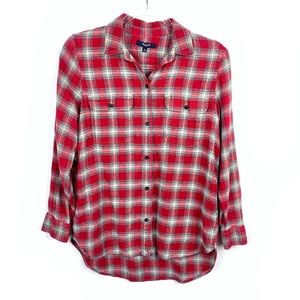 Madewell | Red Flannel Plaid Button Down Shirt